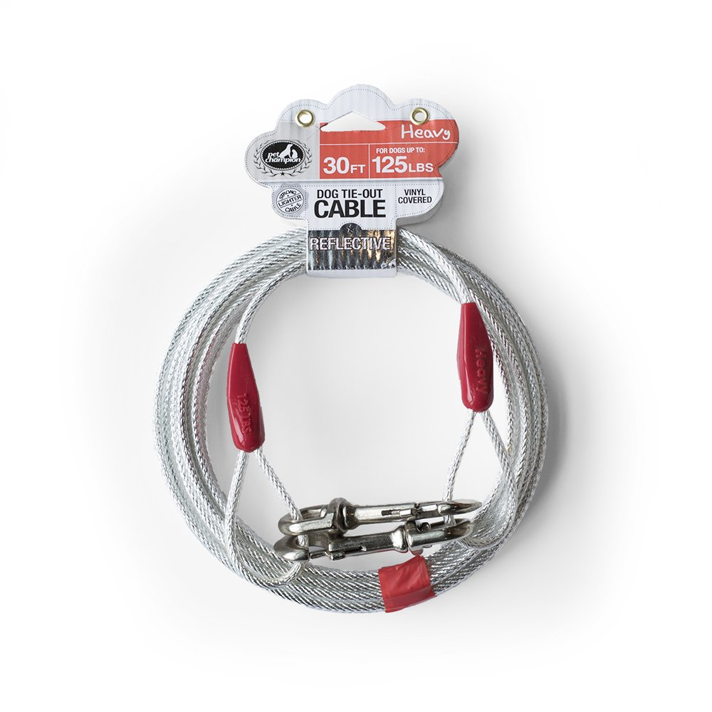 Pet Champion Heavy Reflective Tie Out Cable for Dogs Up to 125 Pound, 30 Feet
