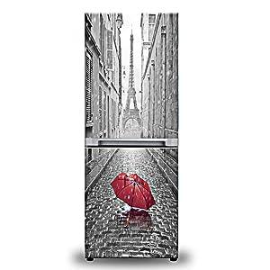 yazi Customized Door Fridge Sticker Closet Cover DIY Self Adhesive Removable Waterproof Vinyl Sticker for Refrigerator Covering Full Door Wall Decal Hallway Mural 23x70 Inch Paris in The Rain