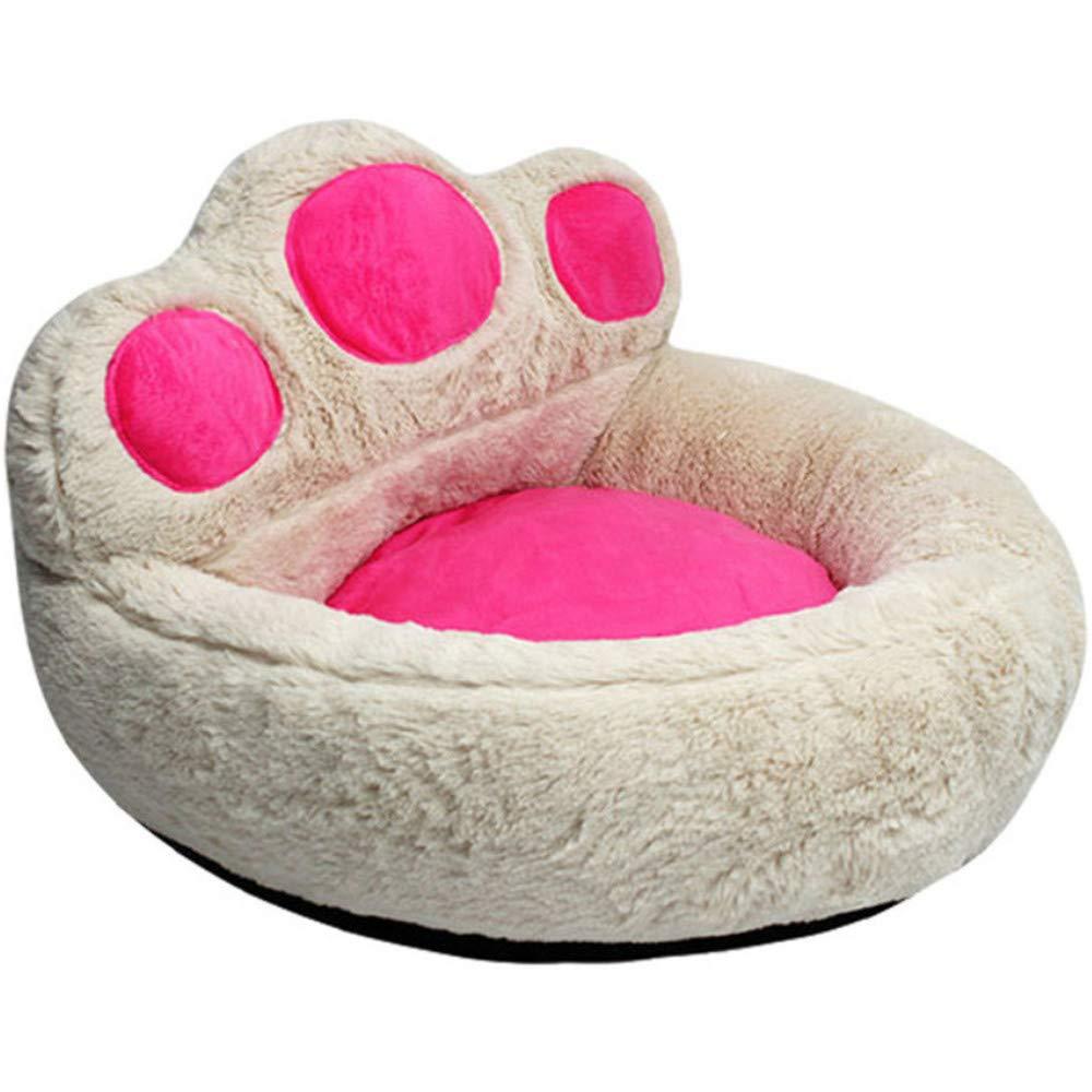 Wuwenw Linda Mascota Nido Otoño Oso Pata Perro Plegable Animal Nido Beige, M