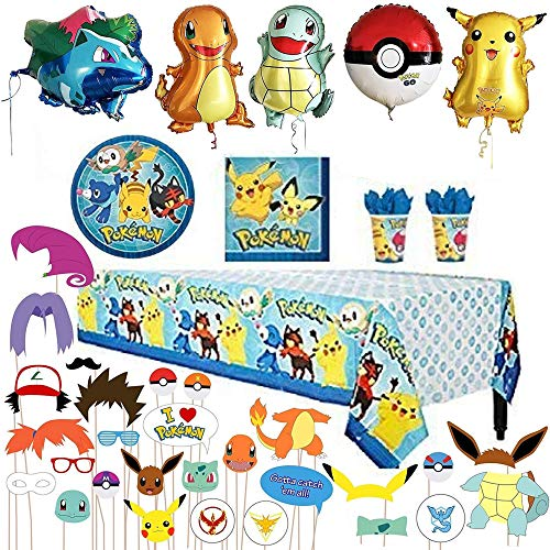 Balloons Party Beverage Birthday Napkins - Park Ave Birthday Party Favor Supplies Pack For 16 Pokemon Guests With Plates, Beverage Napkins, Tablecover, Cups - Plus 5 Mylar Balloons and 26 Photo Props