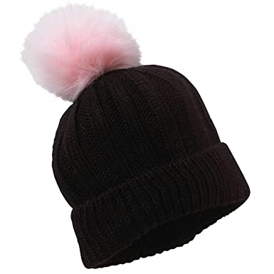 Womens Ladies Girls Knitted Winter Fluffy Pom Pom Beanie Hat - Black - One  Size f290384ef
