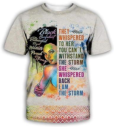 Impresión De Niña Africana con Cabeza Explosiva Pintada Camiseta Summer 3D Print Design Manga Corta Unisex Moda Casual Pullover Tees Cuello Redondo Camisetas: Amazon.es: Ropa y accesorios