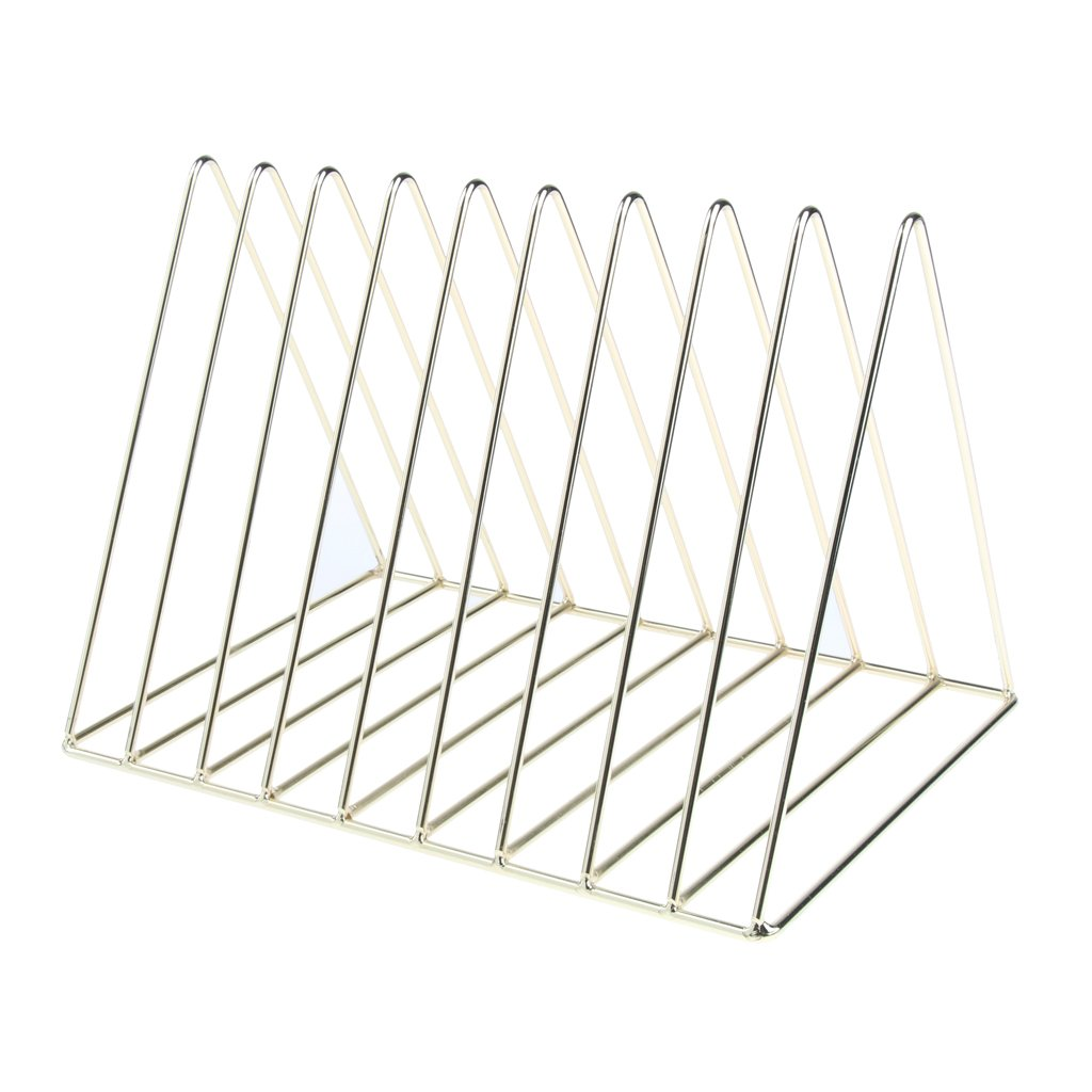 Homyl Elegant Gold Metal Book Rack Stand, Desktop Bookshelf, Triangle Book Holder