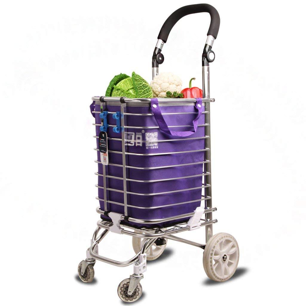 Zehaer Portable Trolley, Lightweight Shopping Trolley Foldable 4-Wheel Adjustable Handle 96 29 32cm Made of Aluminum Alloy by Zehaer (Image #1)
