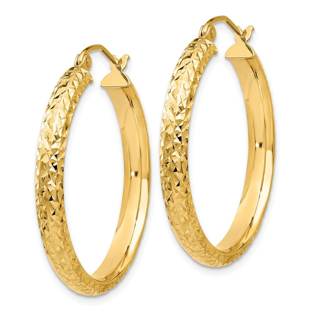 Mia Diamonds 14k Yellow Gold Diamond-cut 3.5x28mm Hollow Hoop Earrings