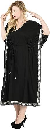 LA LEELA damska Rayon ponadwymiarowa Maxi Plain Kimono Kaftan tunika damska top swobodny rozmiar Loungewear urlop bielizna nocna plaża codziennie sukienka czarna V207: LA LEELA: Odzież