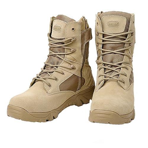 LiliChan Botas Militares de Combate táctico para Hombres con Cremallera (47 EU, Broncearse)