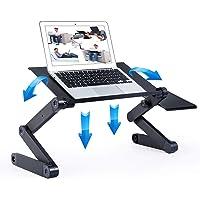 Adjustable Laptop Table, RAINBEAN Laptop Stand for Bed Portable Lap Desk Foldable Laptop Workstation Notebook Riser with…