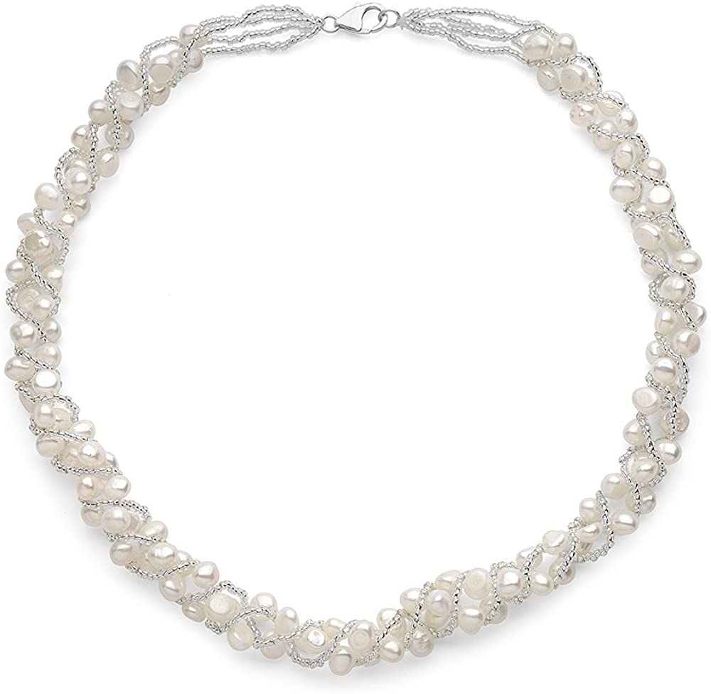 Sugoi Pearls White Freshwater Cultured Weaved Pearl Necklace Sterling Silver Clasp