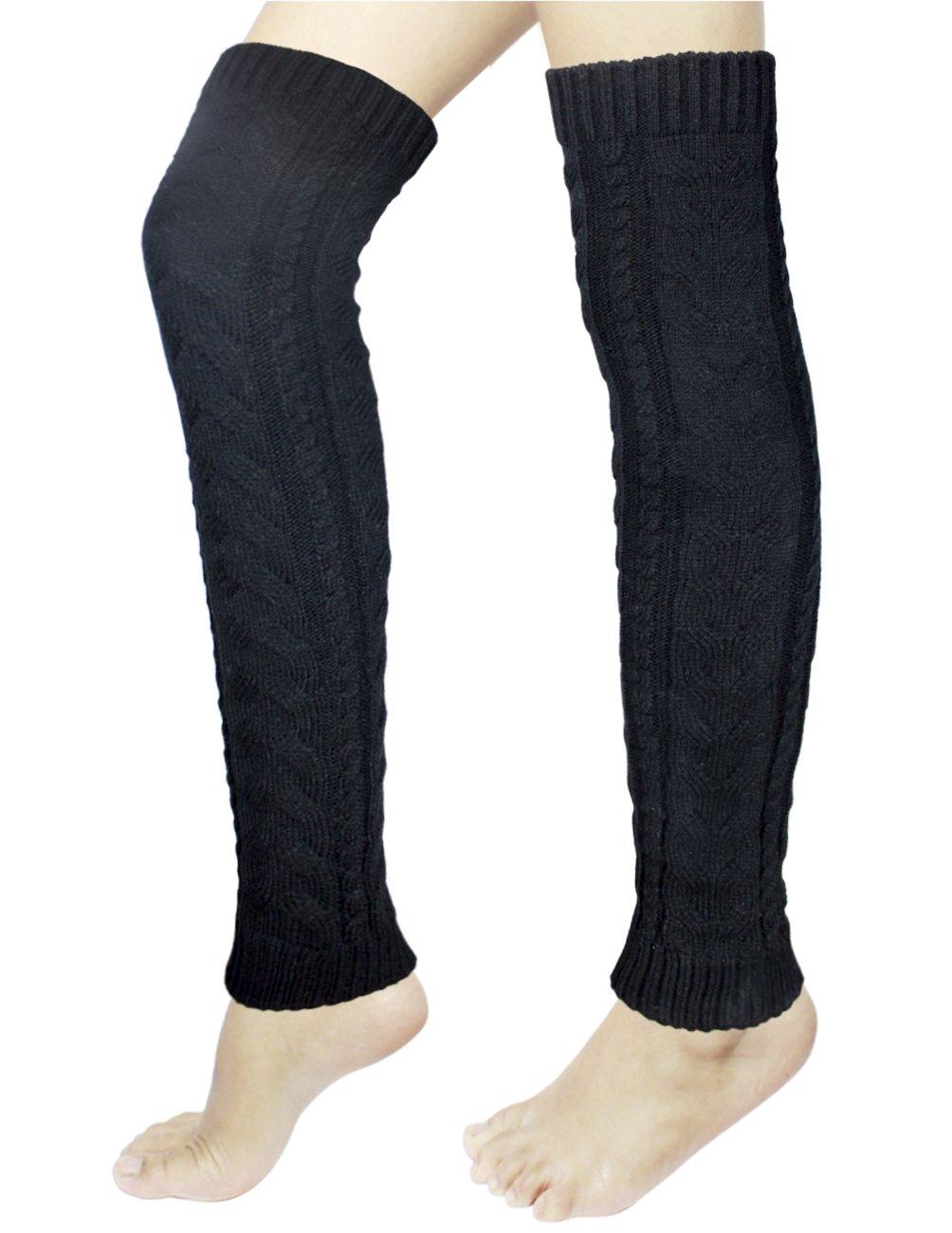 Dahlia Women's Long Cable Leg Warmers - Black