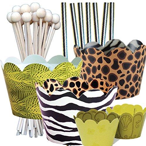 Jungle Animal Print Theme Birthday Party Supplies Pack, Zoo, Zebra, Cheetah, Confetti Couture, 96 Piece Kit