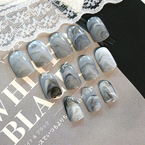 24pcs Sexy Fashion Grey Gray Marble Texture Glossy False Nails Acrylic Artificial Full Fake Nails Nail