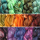 Weaving Spinning Best Deals - Needle Felting Roving Fiber for Felting Spinning Weaving Dryer Balls Soap Making and Embellishments. Color Sampler Pack of BFL Wool Hand Dyed in USA by Living Dreams. 3 Samplers