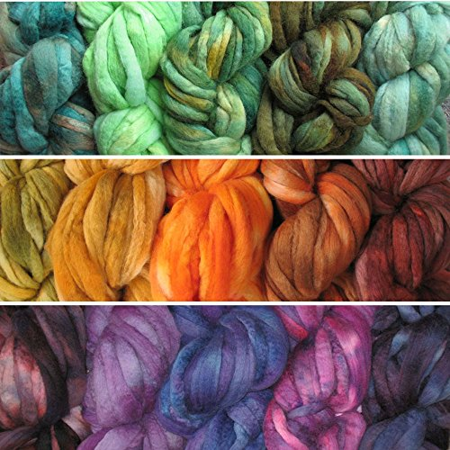 Needle Felting Roving Fiber for Felting Spinning Weaving Dryer Balls Soap Making and Embellishments. Color Sampler Pack of BFL Wool Hand Dyed in USA by Living Dreams. 3 Samplers (Pencil Sampler)