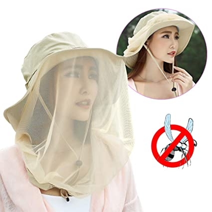 b9e391cc961c3b Jackcell Mosquito Head Net Hat, Safari Hat Breathable Sun Hat, Beekeeper  Hat with Veil Net Mesh Protection from Bee Mosquito Gnats for Women Outdoor  Fishing ...