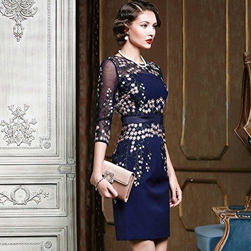 Cotylédons Women`s Robe De Soirée Col Rond Manches Demi Bleu Robe Moulante