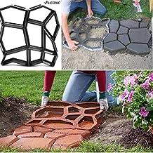 """LEONC Paving Pavement Concrete Mould Stepping Stone Mold Garden Lawn Path Paver Walk,17""""x17""""x1.6"""",Black"""