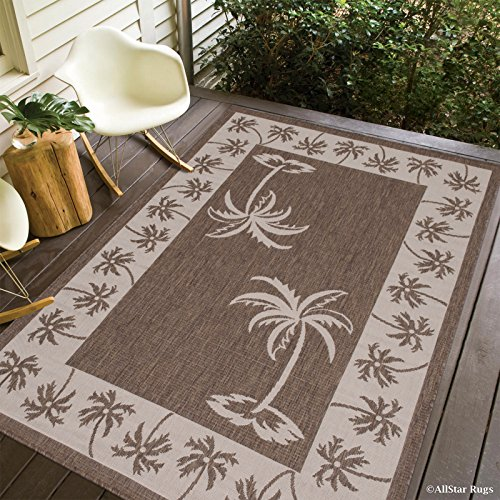 Allstar 5 X 7 Mocha with Ivory Indoor Outdoor With Palm Tree Patterns Area Rug (5