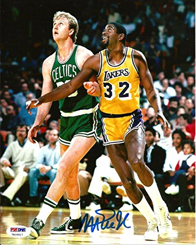 Magic Johnson & Larry Bird Los Angeles Lakers Signed 8x10 Photo COA #2 - PSA/DNA Certified - Autographed NBA Photos