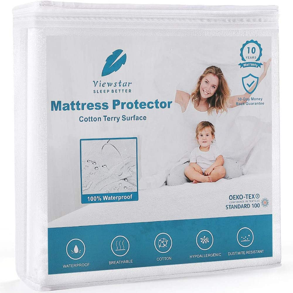 "viewstar 100% Waterproof Mattress Protector Twin XL Size, Breathable Cooling Cotton Surface Bed Cover, Noiseless Machine Washable Protection Cover-Hypoallergenic-Vinyl Free, 18"" Deep Pocket(39"" x 80"")"
