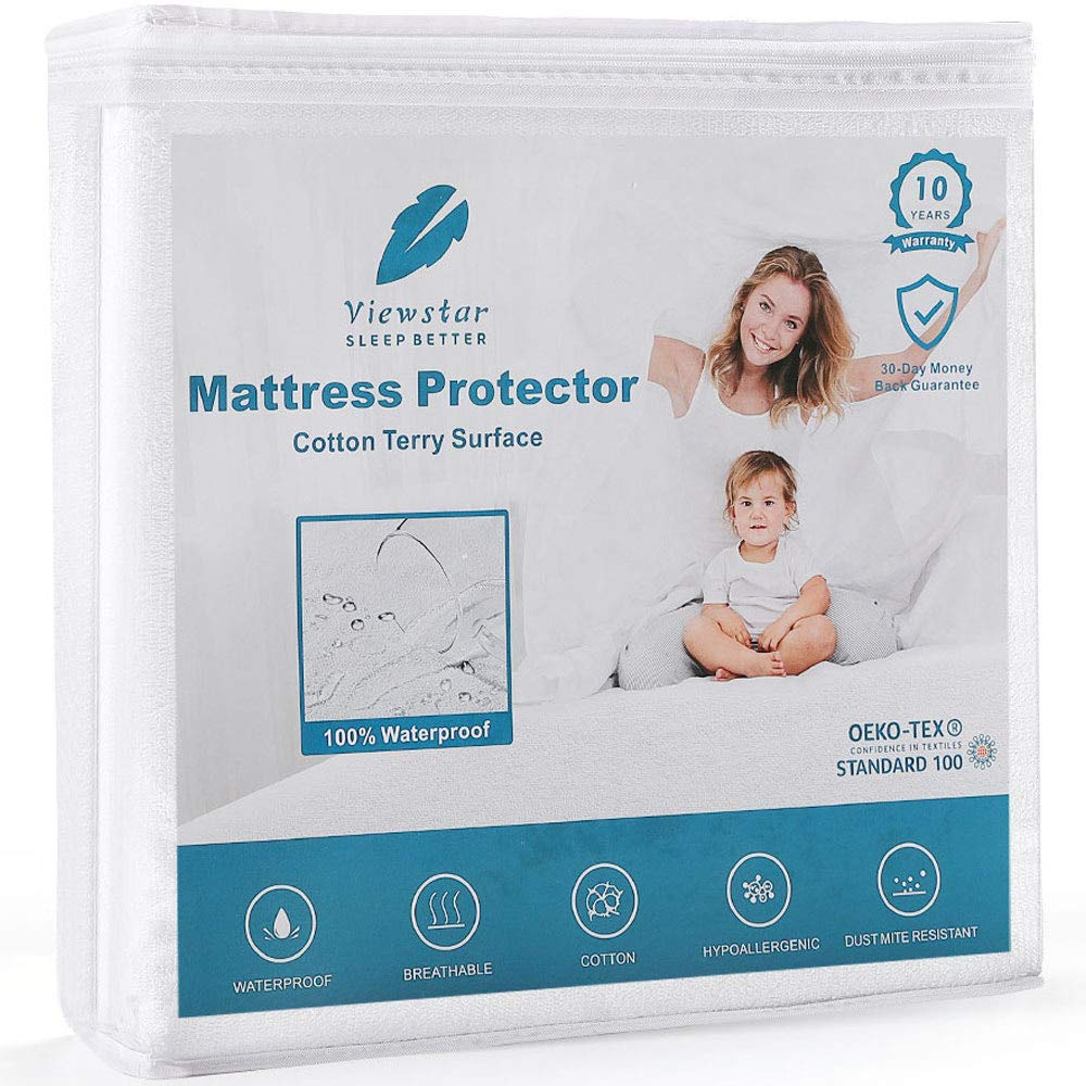 viewstar Bed Protector Twin Size, 100% Waterproof Mattress Cover Cooling Cotton Surface, 18 inch Deep Pocket, Breathable Hypoallergenic Vinyl Free Noiseless (39 x 75inch)