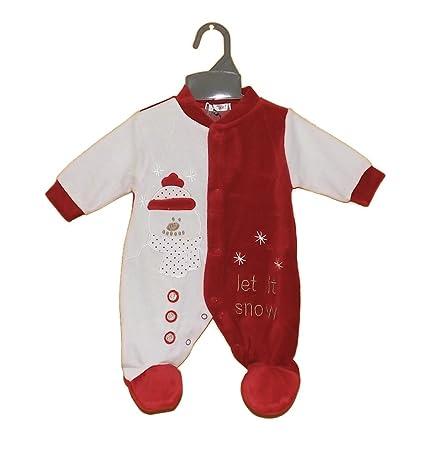 Baby terciopelo Dormir Pelele Let It Snow rojo Talla:0 Monate
