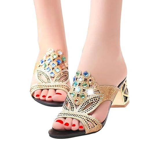 3c0b6cc70 BSGSH Women's Chunky Block High Heel Peep Toe Rhinestone Slide Sandals for  Wedding Party (5