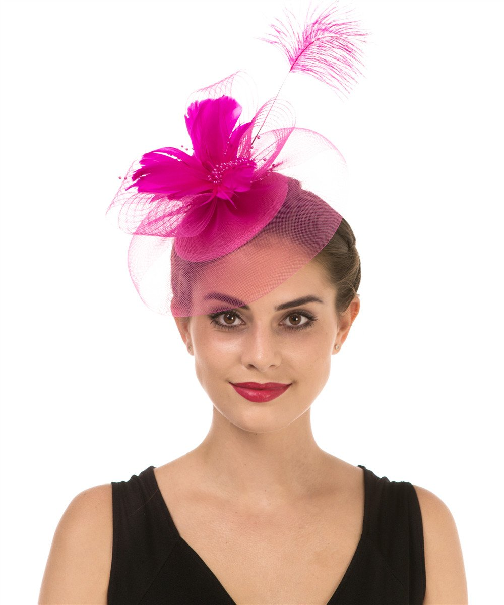 Lucky Leaf Women Girl Fascinators Hair Clip Hairpin Hat Feather Cocktail Wedding Tea Party Hat (3-Feather Fuschia)