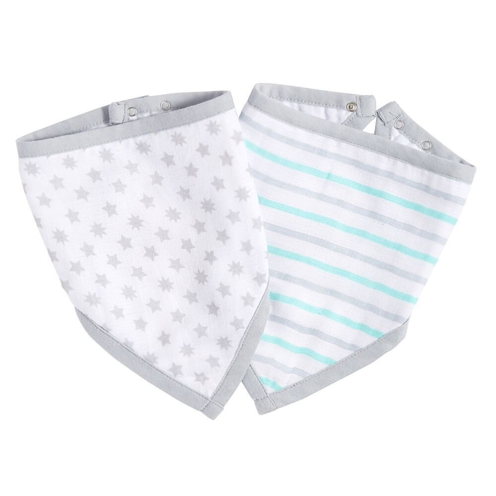 ideal baby by the makers of aden + anais bandana bib 2-pack, grey geo