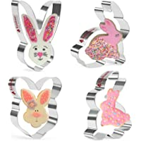 KAISHANE Easter Cookie Cutter Set Easter Bunny,Rabbit,Bunny Face,Rabbit Head 4 Pieces Cookie Cutters Stainless Steel…
