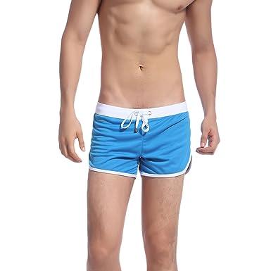 3a9ea0ca53 Rrimin Men's Swimwear Trunks Sports Wear Short Beach Summer Pants Home  Shorts (Blue, X
