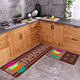Carvapet 2 Piece Non-Slip Kitchen Mat Rubber Backing Doormat Runner Rug Set, Colorful Cups (19''x59''+19''x31'')