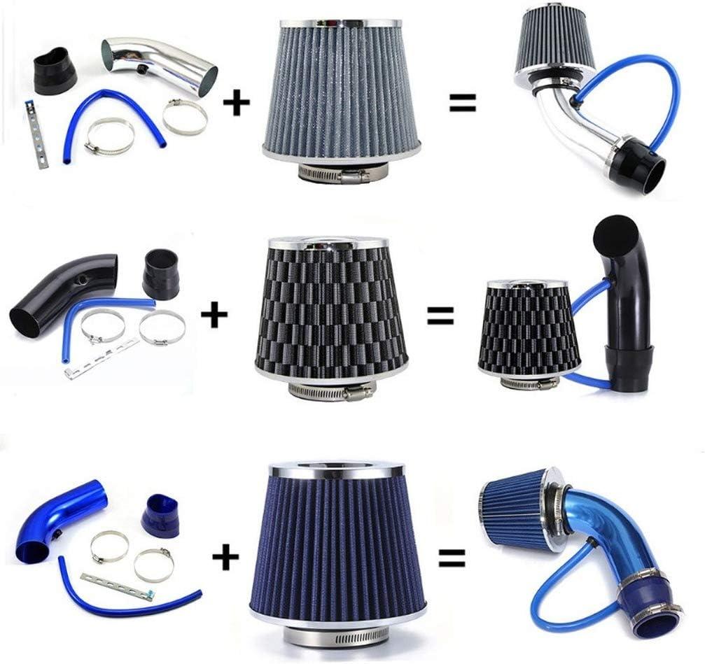 Universal Kohlefaser Lufteinlasssystem mit Schlauch Blau BIingkee Universal Sportluftfilter Auto Aluminium Pipe Power Flow Kit 76mm 3 Zoll Universal Luftk/ühlung Lufteinlassfilter Kit