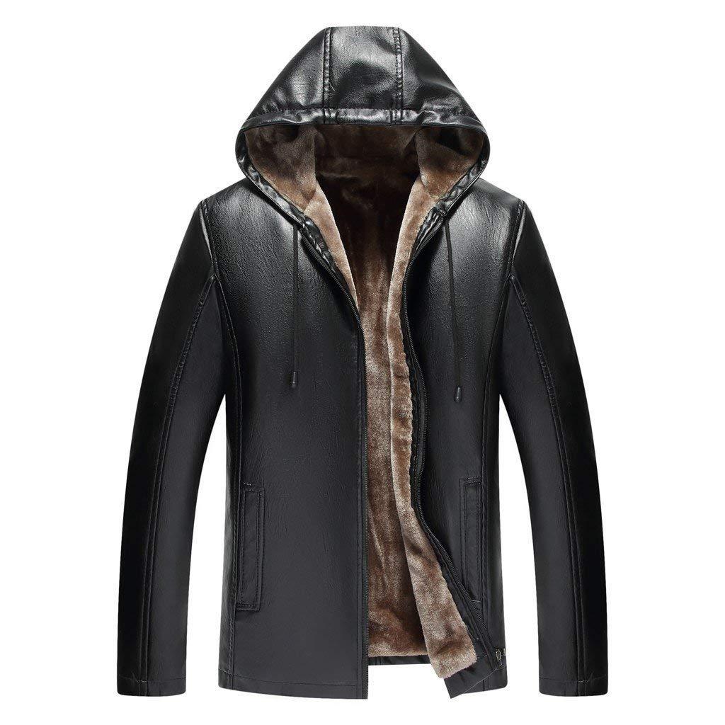 jin&Co Woolen Leather Jackets for Men Fashion Lapel Autum Winter Velvet Thick Casual Windbreaker Outwear with Pocket by jin&Co Men's Jacket