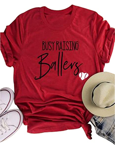 019164876425 Busy Raising Ballers I Only Raise Ballers T Shirt Women Baseball Mom Tees  Tops at Amazon Women's Clothing store: