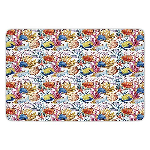 K0k2t0 Bathroom Bath Rug Kitchen Floor Mat Carpet,Ocean Animal Decor,Coral Reef Scallop Shells Fish Figures Sea Plants Polyp Murky Nautical Decor,Multi,Flannel Microfiber Non-Slip Soft Absorbent (Coral Star Polyp)