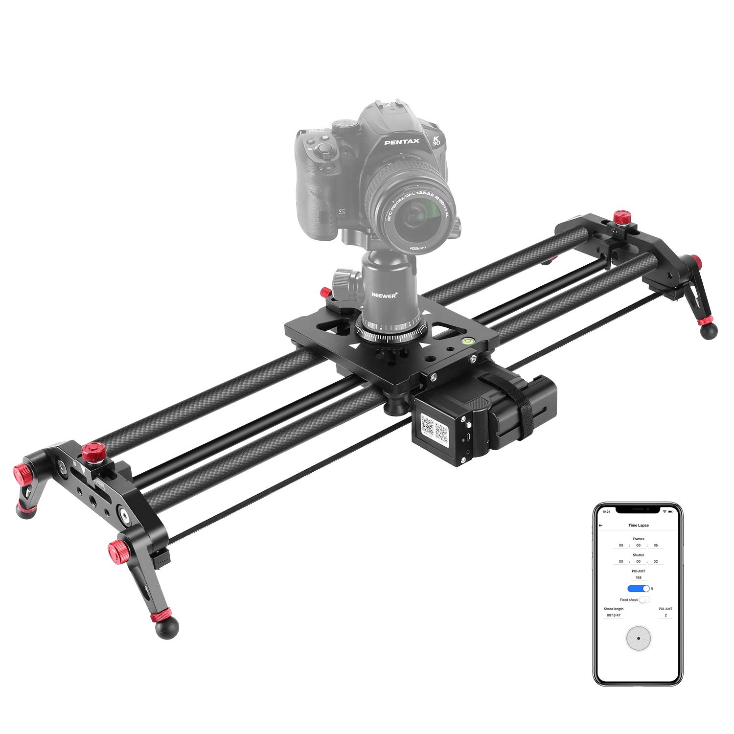 Neewer Camera Slider Motorized, 31.5-inch APP Control Carbon Fiber Track Dolly Rail with Time Lapse Video Shot Follow Focus Shot and 120 Degree Panoramic Shooting for DSLR Cameras, Load up to 22 lbs by Neewer