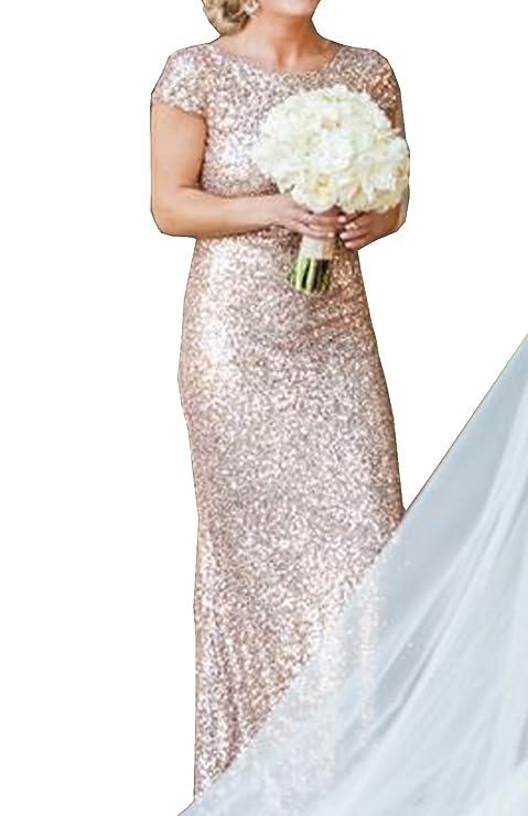 Damen Reizvolle Kurzärmlig Brautjungfernkleid Rückenfrei ...