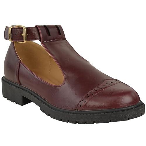 Nuevo Mujer Niña Zapatos de colegio RECORTE Fornido Muñeca Seguidores trabajo Bombas Talla - Borgoña Oscuro