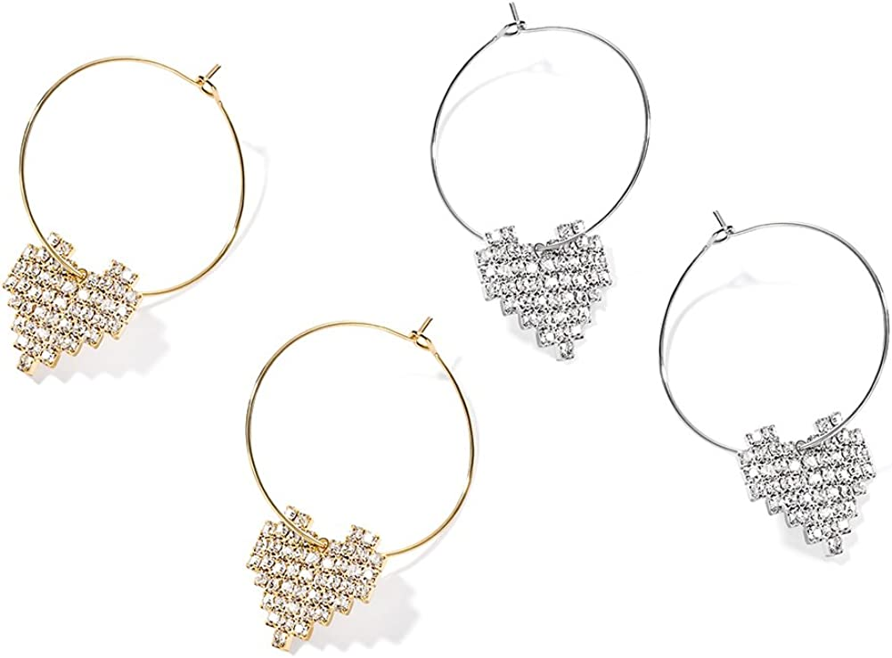 GooNight Love Heart Hoop Earrings Gold Plated Cubic Zirconia Jewelry for Lovely Girls