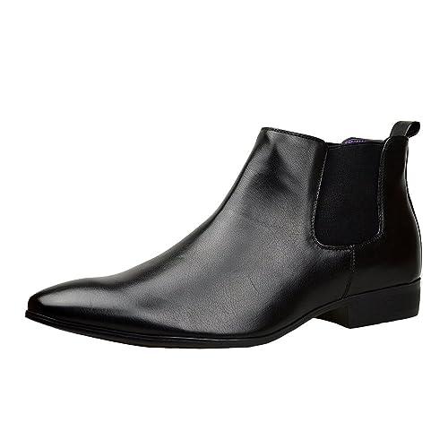 Piel Negra Hombre Elegante Formal Casual Botines Chelsea TALLA UK 6 7 8 9 10 11: Amazon.es: Zapatos y complementos