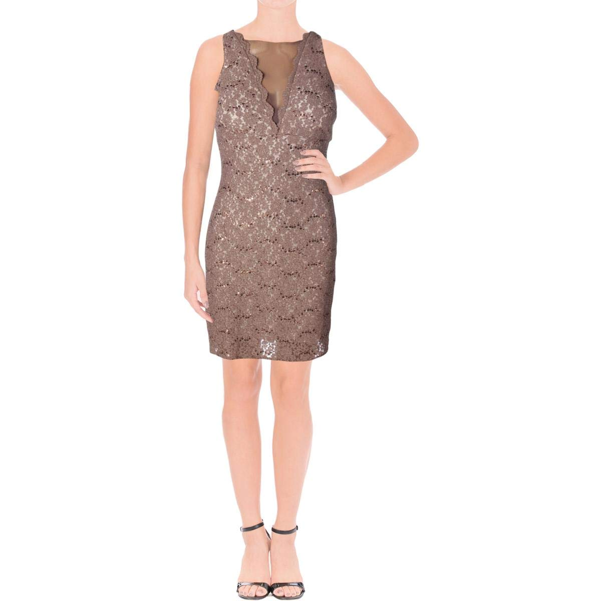 f1c167fa073 Nightway Sequined Lace Cocktail Dress at Amazon Women s Clothing store