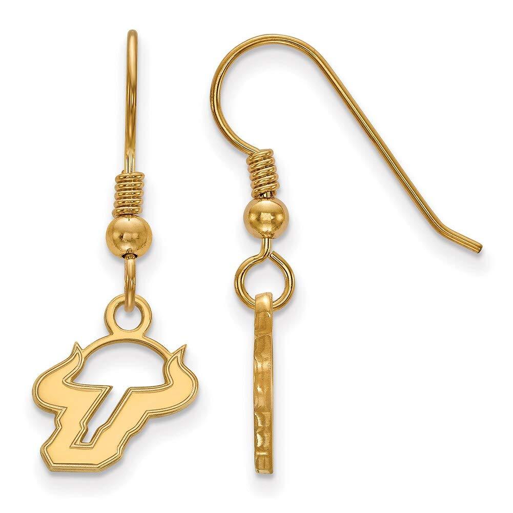 Lex /& Lu LogoArt Sterling Silver w//GP University of South Florida XS Dangle Earrings