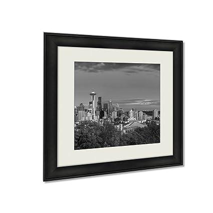 Ashley framed prints seattle skyline at twilight wall art home decor black white