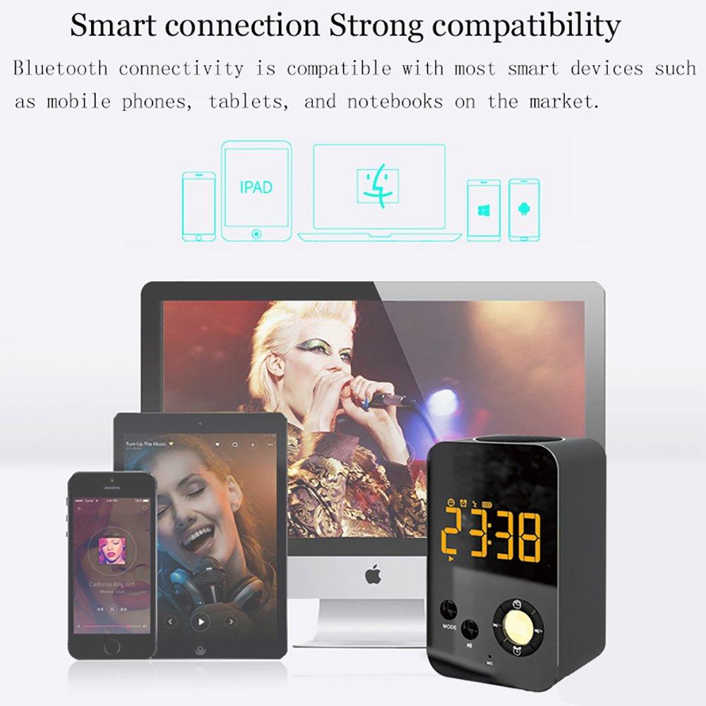 TYXQ Radio Reloj Despertador,Altavoz Bluetooth Inálambrico, Radio FM Digital,luz LED,Alarma Dual,Llamada Manos Libres,Puerto de Carga USB,Bluetooth 4.2, ...