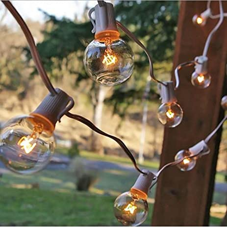 outdoor string lights vintage mason jar g40 string lights with 25 clear globe bulbs vintage backyard patio lights outdoor amazoncom