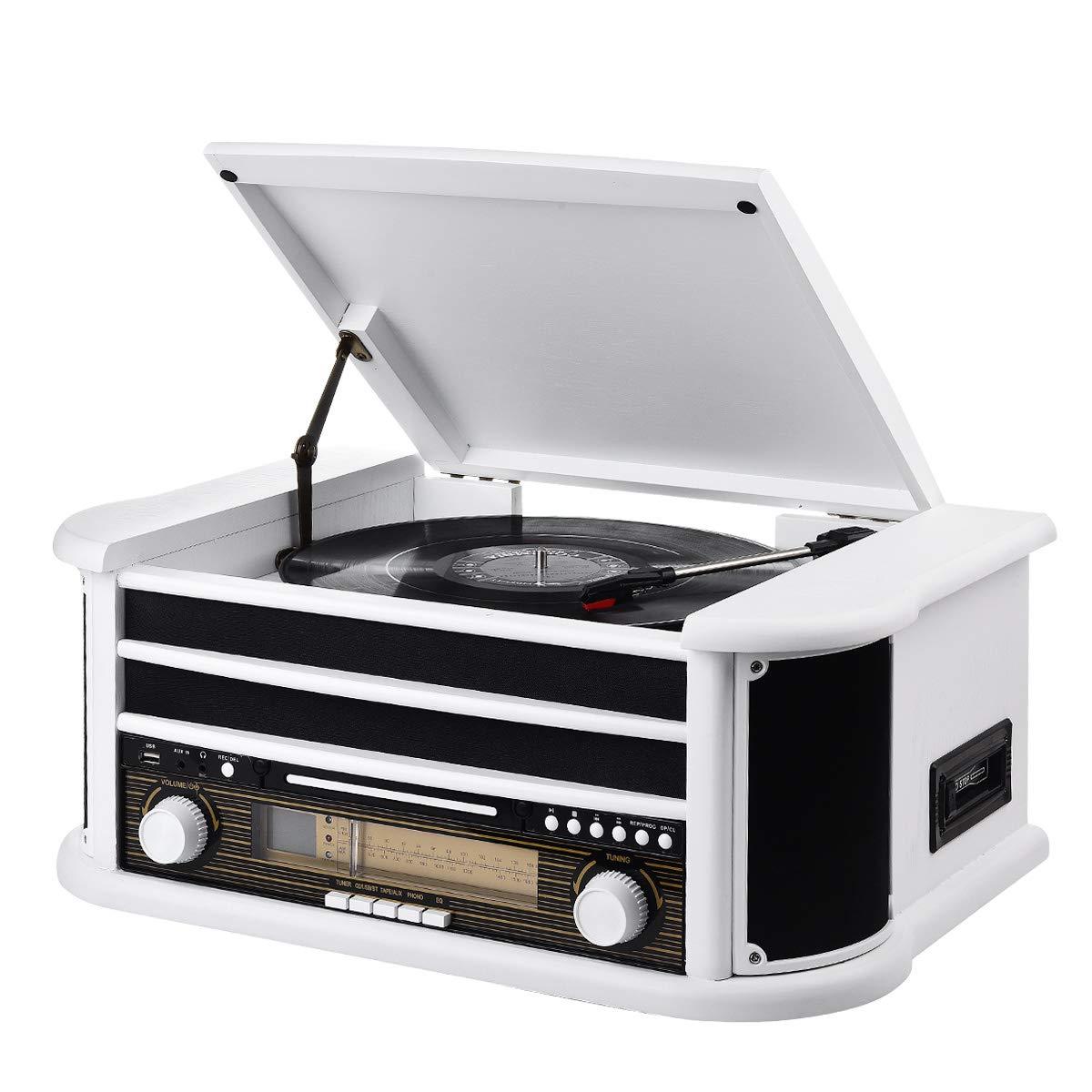 MUSITREND Tocadiscos (33 / 45 / 78 RPM) estéreo de 3 velocidades con Altavoces incorporados, Sistema de Audio para el hogar (BT, Am/FM Radio