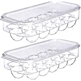 SANNO Freezer Egg Holder Tray, Stackable Covered Egg Tray Holder, Storage Container and Organizer for Refrigerator, Freezer,