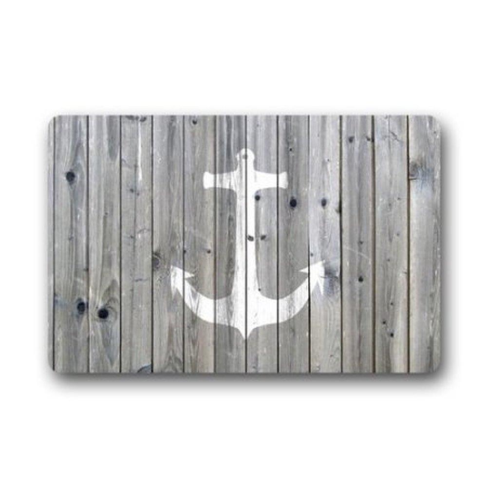 Ormis retro Nautical Anchor flanella tappetino da bagno in microfibra–grigio e bianco antiscivolo morbido assorbente Kitchen Floor tappeti da bagno (40, 6cm W x 61cm l) Deli