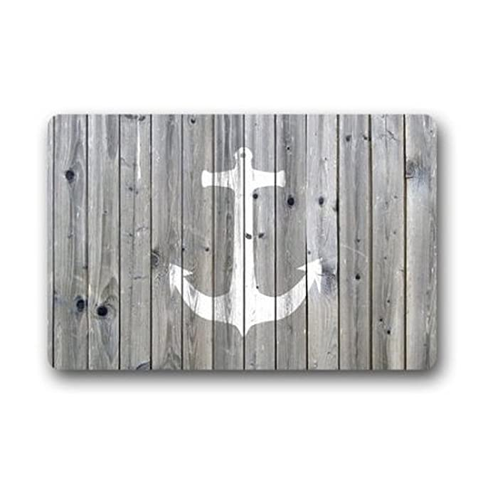 Ormis Vintage Retro Nautical Anchor de franela y microfibra baño alfombra - gris y blanco piso alfombra de baño alfombras de cocina antideslizante suave ...